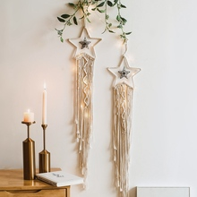 Art Tapestry Wall-Decoration Living-Room Nordic-Style Moon Hand-Woven Tassel Star Knitted