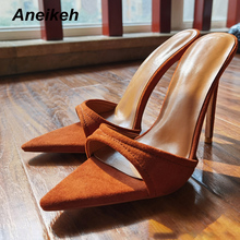 Aneikeh 2021NEW Summer Fashion Pointed Toe Shallow Mules Pumps Flock High Heel Wedding Party Shoes For Women Slippers Siez 35-42