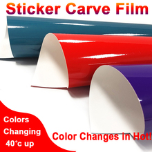 1 Roll Hot Discoration Adhesive Sticker Film Color Changing Paper 40 Up Degree DIY Carve Decoration Removable Glue