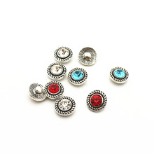 High quality 20pcs/lot crystal alloy button 12mm Glass Snap Buttons Fit DIY Bracelet Button Charms Jewelry