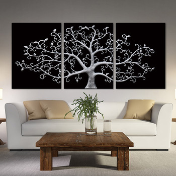 3 Panels Black and White Posters And Prints Modern Abstract Tree Canvas Painting Wall Art Pictures For Bedroom Decoration фото