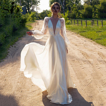 Boho Wedding Dress Lace Illusion Long Sleeves A Line Country Bridal Dresses 2020 Sexy V Neck Backless Satin Gowns - discount item  43% OFF Wedding Dresses