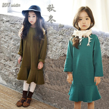 2019 new autumn clothes teenage girls long sleeve dresses age for 4 -14 yrs big girl casual school winter thick warm dress