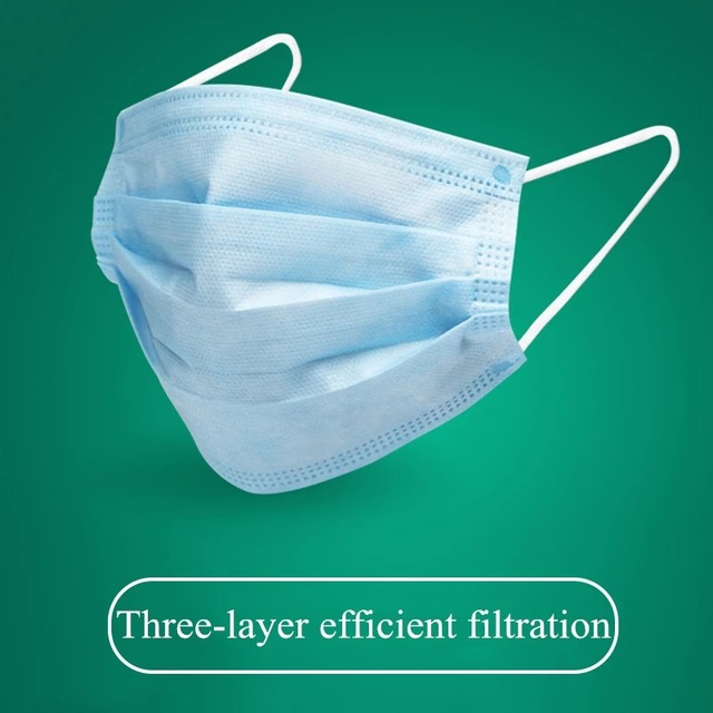 Hot Sale DISPOSABLE Mask Anti-dust Mask Mouth Korean Blue Face Mask 3Layer Antifog  Dust Mask  Facial Safety Mask 2