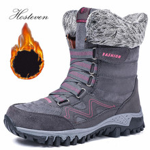 Hosteven Boots Women High Quality Leather Winter Bootee Keep Warm  Water Proof Platform