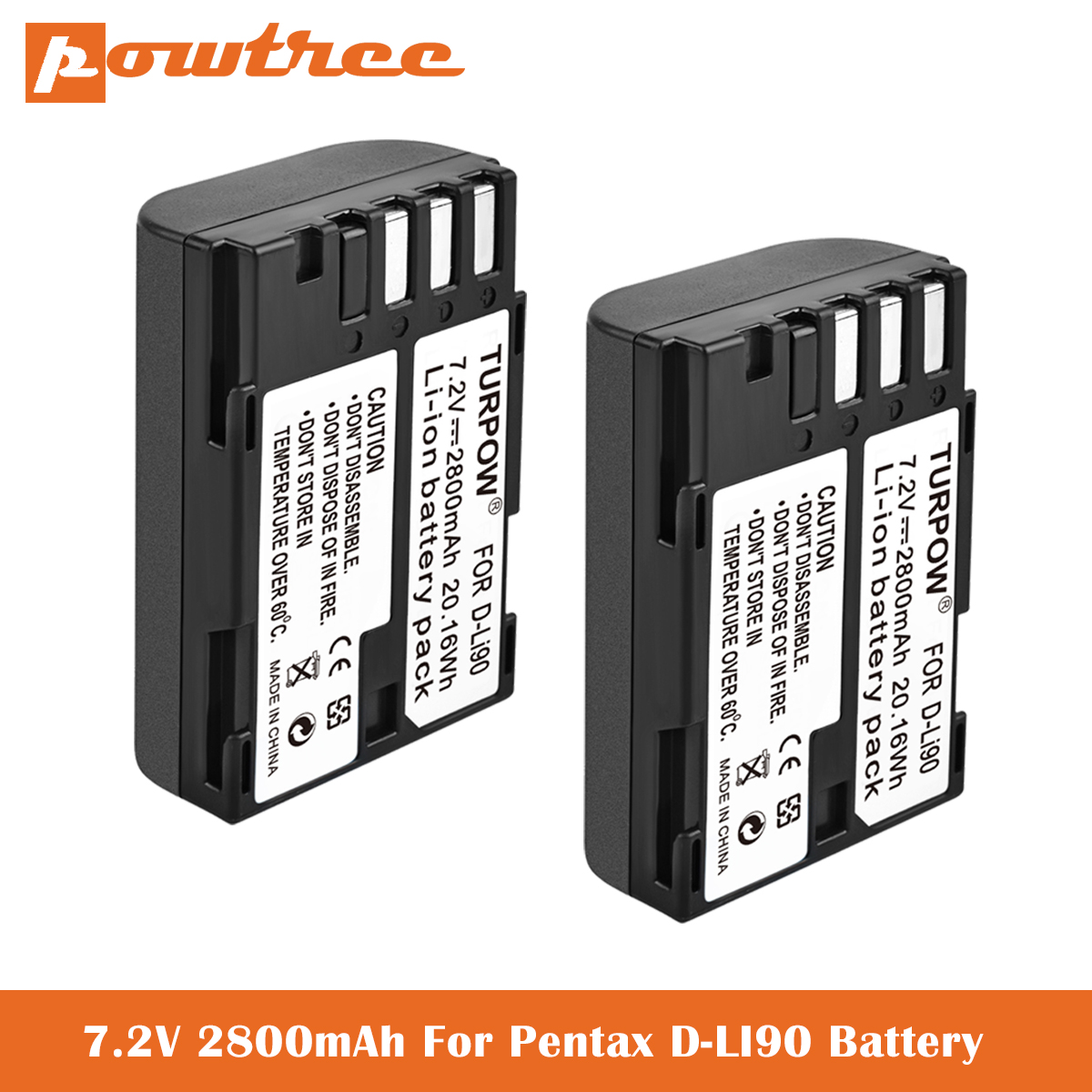 <font><b>7</b></font>.2V <font><b>2800mAh</b></font> D-LI90, DLI90 Batteries for Pentax K-1 DSLR, K-01, K-<font><b>3</b></font>, K-<font><b>3</b></font> II, K-5, K-5 II, K-5 IIs, K-<font><b>7</b></font>,SLR 645D Digital Camera image