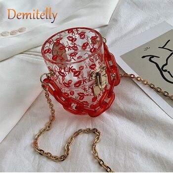 Bolso de mujer Mini cilindro de PVC a la moda nuevo estampado letras acrílicas bolso de hombro tipo bandolera exquisita cerradura de Hardware bolso de mujer
