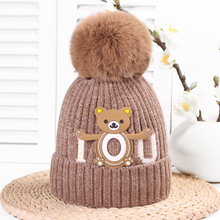 Bear Letter Pompon Knit Baby Hat In Girls Hats Warm Winter With Pom Poms Beanies Double Side Caps