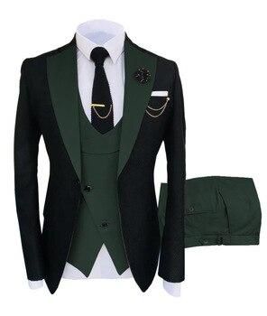 New Costume Slim Fit Men Suits Slim Fit Business Suits Groom Black Tuxedos for Formal Wedding Suits Jacket Pant Vest 3 Pieces 8