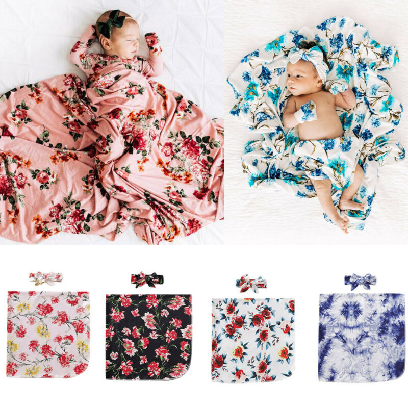 2Pcs Floral Swaddle Wrap Blanket Baby Sleeping Bag Headband Set