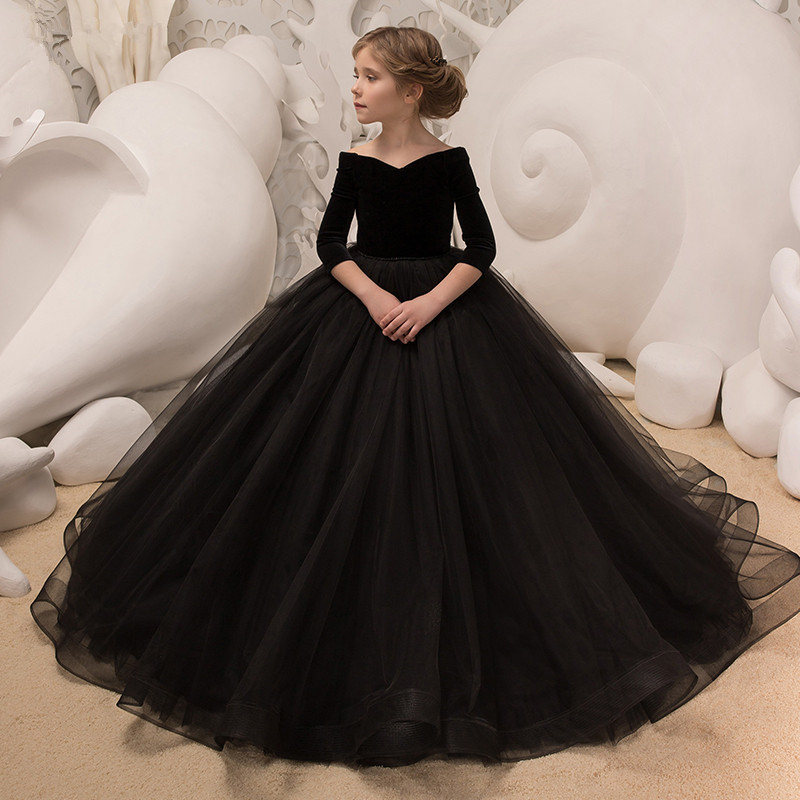 Girls Evening Dress Princess Dress 2019 New Style Nobility Catwalks Big Kid Piano CHILDREN'S Dress Off-the-Shoulder Tailing Skir