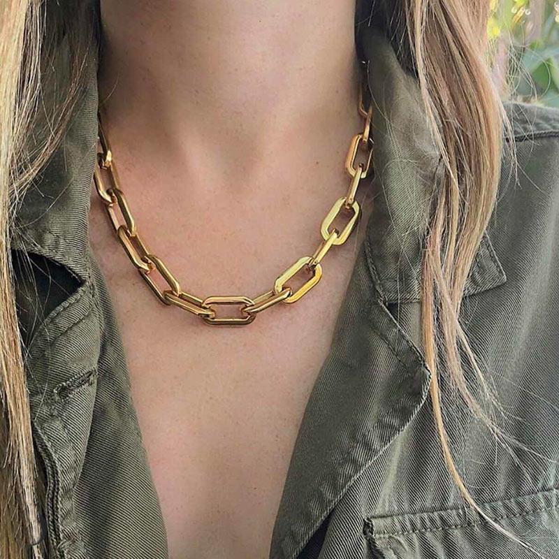 JUST FEEL 2020 винтажное ожерелье чокер на цепочке, женское панк массивное ожерелье, золотой Короткий воротник, цепочка на шею, модное ювелирное изделие, подарок|Ожерелья-цепочки| | - AliExpress