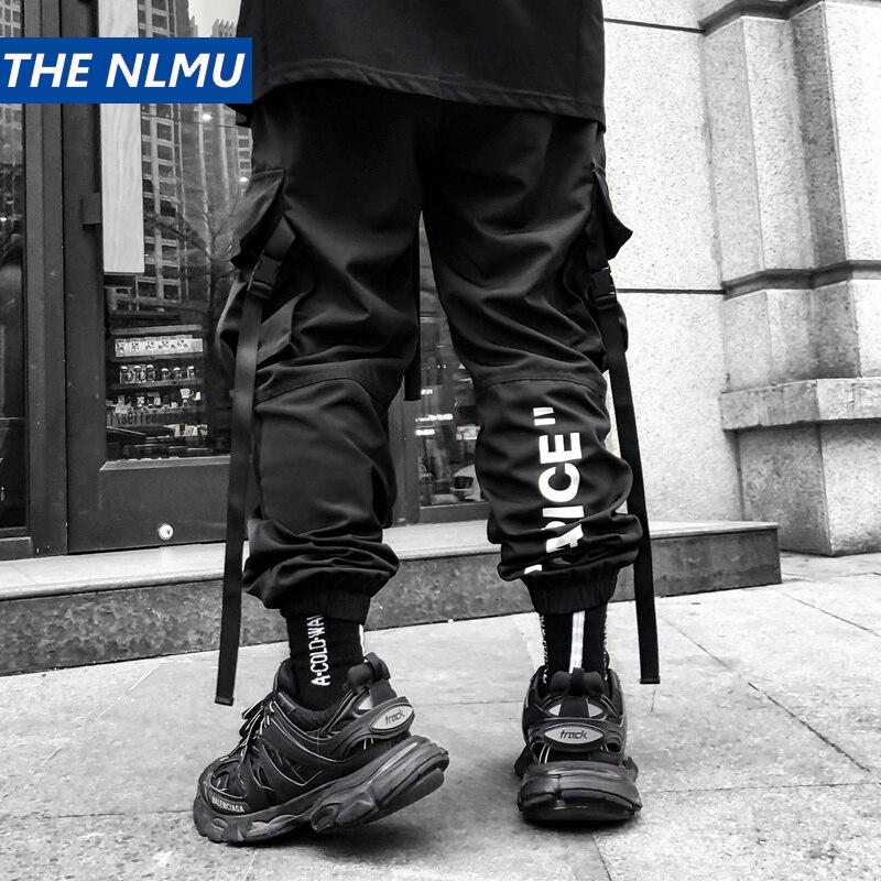 Streetwear Sweatpants Men Jogger Elastic Waist Ankle-length Pants Ribbon 2019 Fashion Mens Joggers Black Cargo Pants Men HZ154
