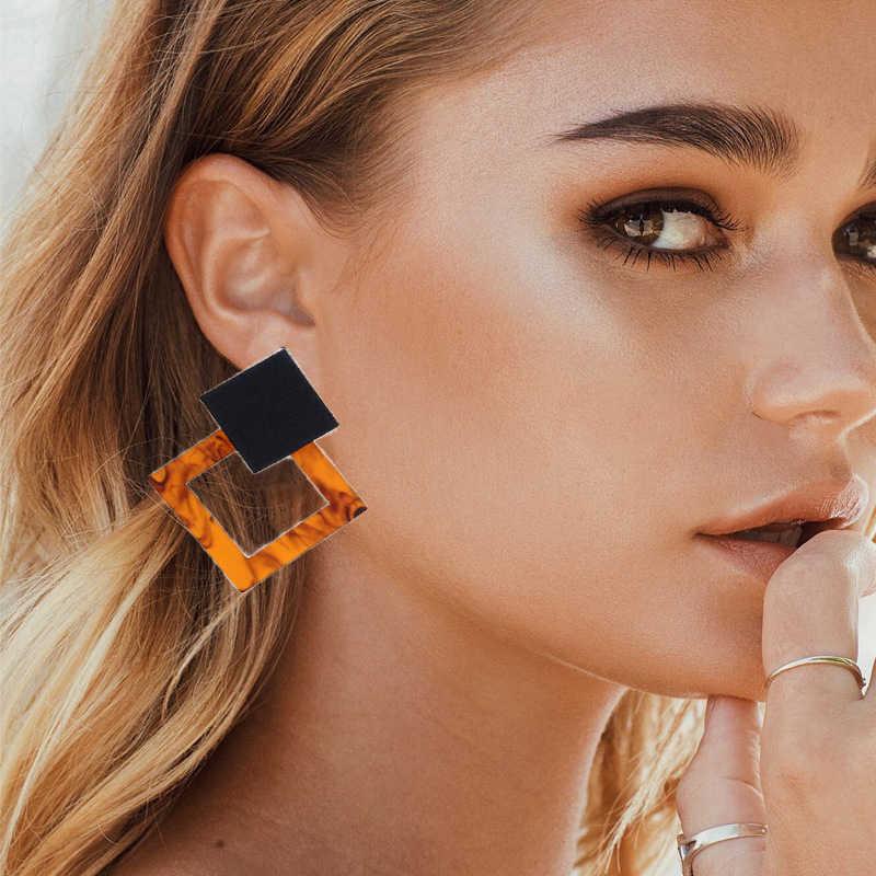 Akrylowe kolczyki 2019 duże kreatywne kolczyki dla kobiet żywica owalne kwadratowe geometryczne kolczyki zwisające biżuteria bohema prezent