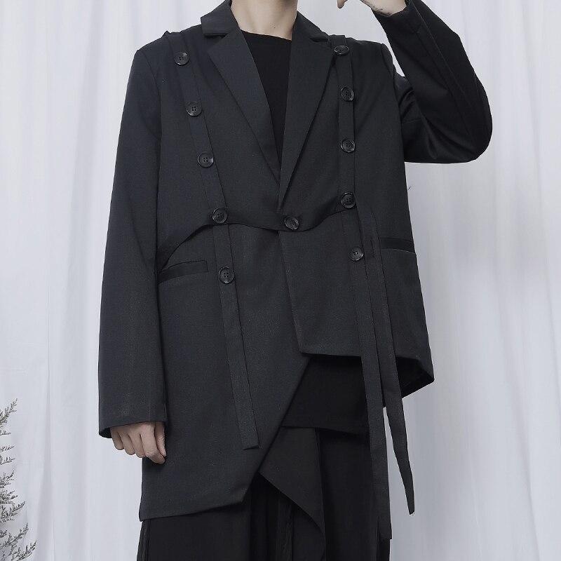 EWQ / Men's Wear Suit Male's Casual Single Button Asymmetric Hem Loose Small Suit Coat 2020 New Niche Deisgn Black Blazers Y2519