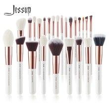 Jessup pincéis de maquiagem conjunto 6 25 pces pérola branco/rosa ouro profissional compõem escova cabelo natural fundação pó blushes