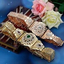 Sunspicems Cinturón de Metal para mujer, caftán marroquí elegante para boda, cadena de cintura con diamantes de imitación de Color dorado y plateado para vestido de novia, joyería para el cuerpo