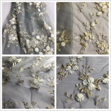 Exquisite Sequined Tulle Lace Fabric ,Star Floral Embroidery Metallic Bridal Gown Lace Fabric by Yard in Champagne Gray(China)