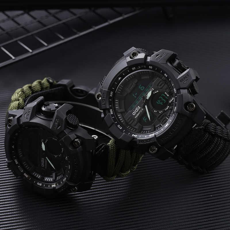 나침반 30M 방수 남자 스포츠 시계 남자 스포츠 시계 충격 스포츠 시계 전자 손목 시계와 LED 군사 시계