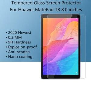 Para Huawei MatePad T8 Protetor de tela de vidro temperado de 8,0 polegadas 9H T 8 2020 Filme de proteção para tablet de 8