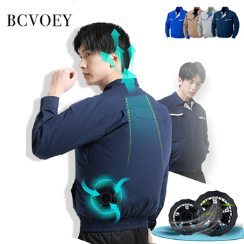 Men Clothing Summer Air Cooling Jacket Fan Clothes Thin Cotton Air Conditioning Cool Coat Heatstroke Proof Construction Jacket air conditioning vest cooling clothing aluminum alloy vortex tube worker welding cool clothes for high temperature environment