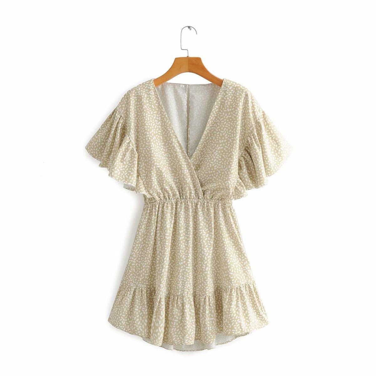 2020 New Spring Summer European Printed Female Dress Zaraing Vadiming Sheining WOMEN'S Printed Dress Streetwear S501