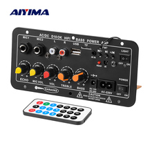 AIYIMA Bluetooth Amplifier AC220V 12V 24V Mono Subwoofer Amplificador Dual Microphone Karaoke Amplifiers For 6-12 Inch Speakers