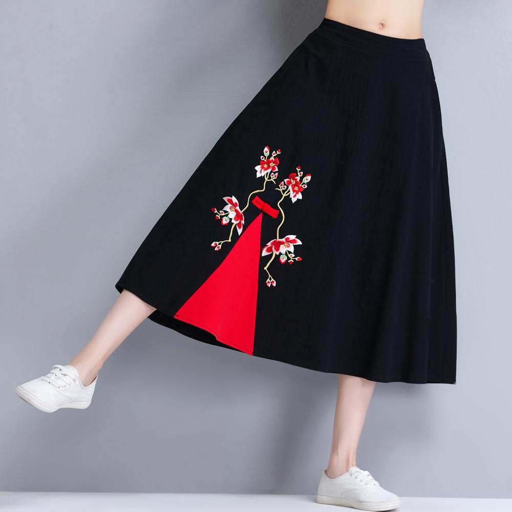 Drunk Pet Za8783 Ethnic Embroidery Skirt Women's 2019 Autumn New Style Elastic Waist Mixed Colors Frog Midi-skirt