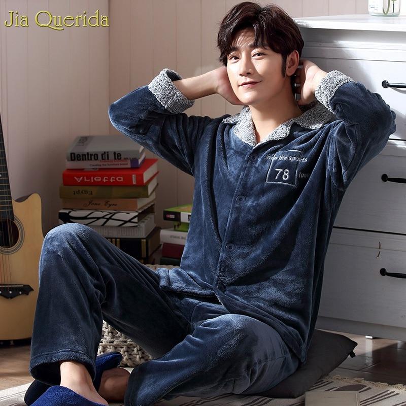 Pajamas Men Cardigan Homewear Sleep-Suit Couple Matching Long-Sleeve Winter Flannel Plus
