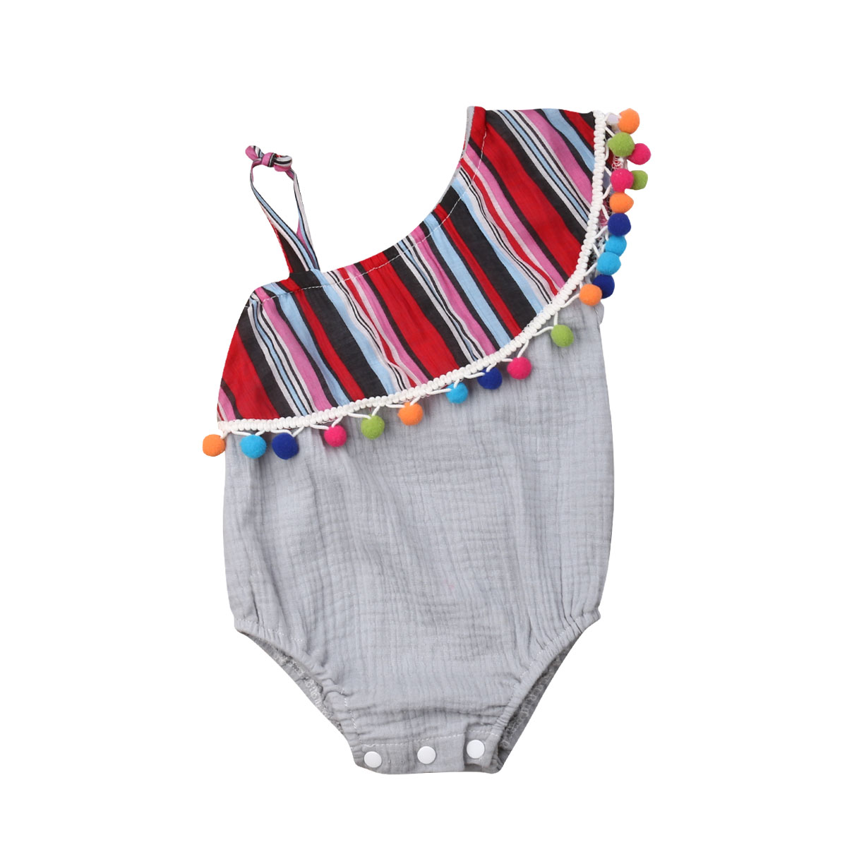 3-24M Newborn Infant Baby Girl Rainbow Tassel Romper One Piece Jumpsuit Cotton Ruffle Clothes Girls Clothing Mexican Outfit