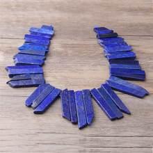 Natural plana azul lapis lazuli pedra ponto vara contas topo perfurado solta contas pingentes colar acessórios para fazer jóias