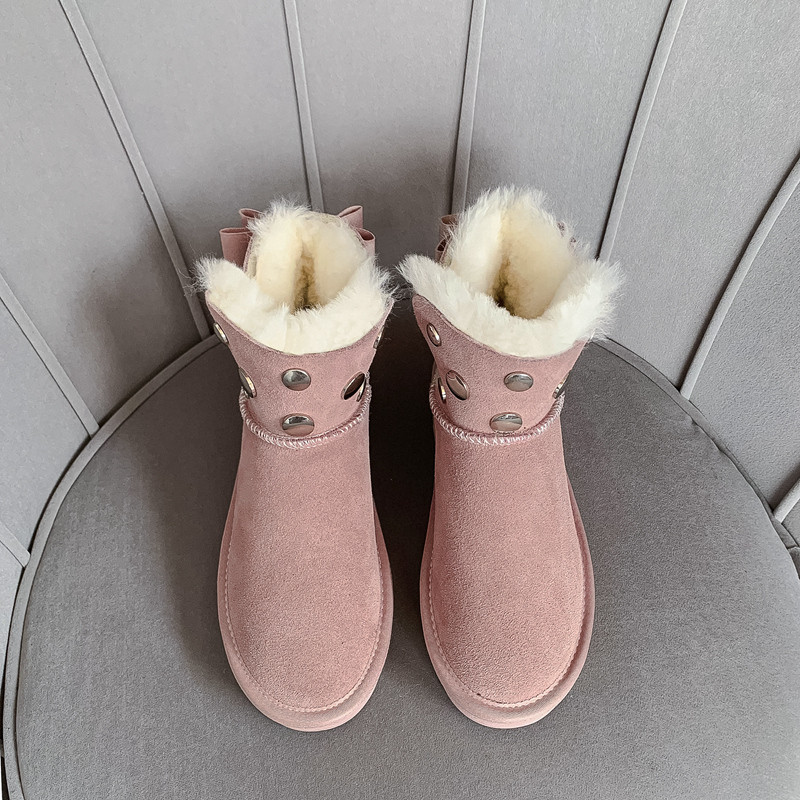 MORAZORA 2020 new hot sale snow boots comfortable flat heel round toe rivets winter shoes keep warm sweet pink ankle boots women 59