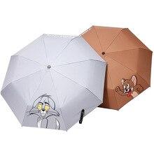 Tom and Jerry Resistant Folding Manual Umbrella Rain Cartoon Anime Cat Mouse Women Auto Umbrellas For Men UV Protection