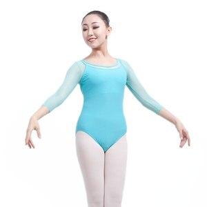 Image 4 - Yetişkin jimnastik Leotard siyah örgü dans 5 renk üç çeyrek kollu bale s kadınlar için Justaucorps