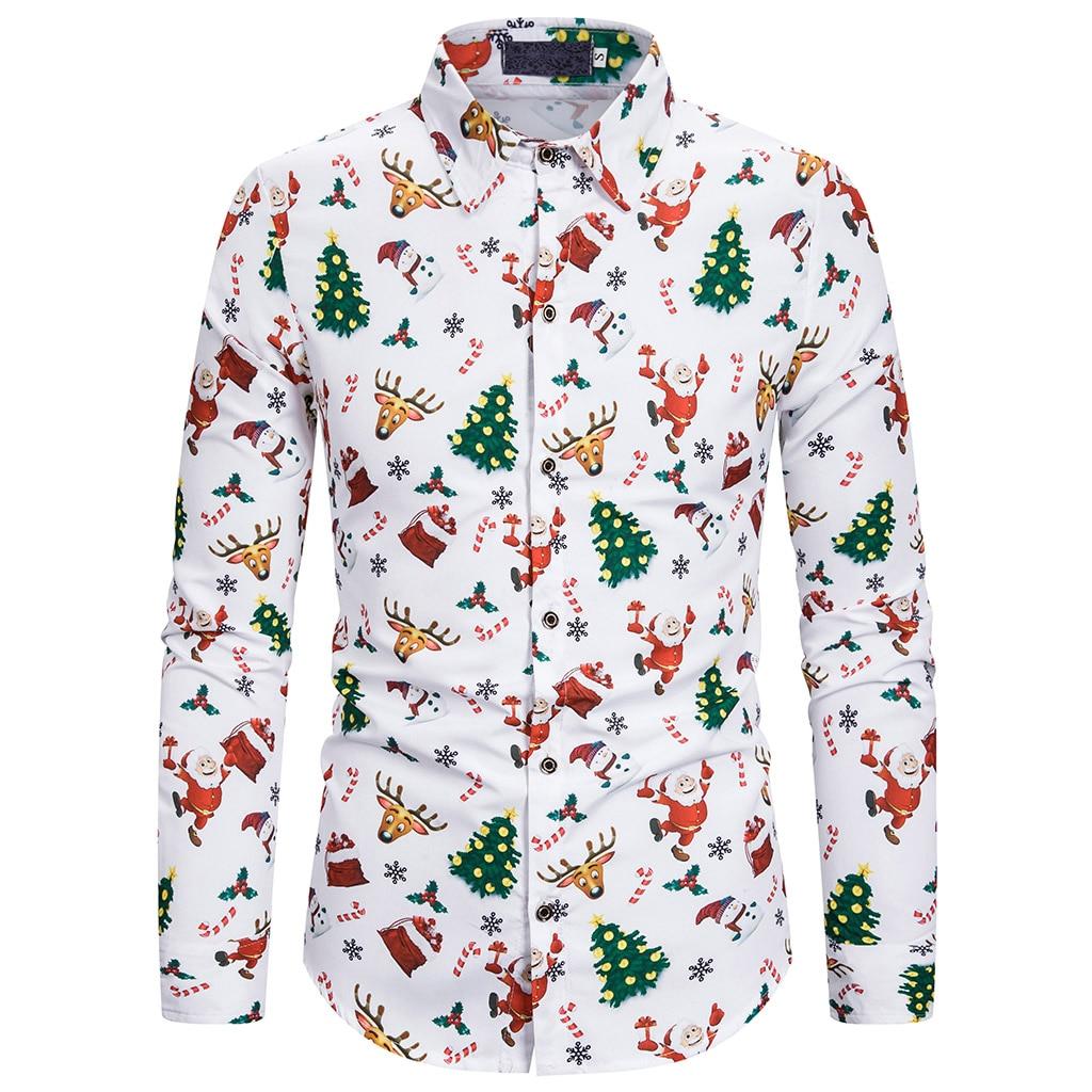 SHUJIN Men Christmas Shirt Cute Cartoon Print Casual Shirt Slim Fit Long Sleeve Camisa Social Masculina 2019 Christmas Clothes
