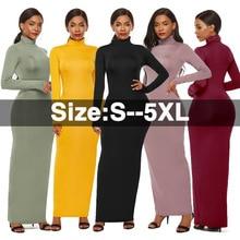 S-5XL Big Size Hight Elastic Turtleneck Long Sleeve Sexy Maxi Dress 2019 Autumn Winter Bodycon Women Robe Femme Vestidos