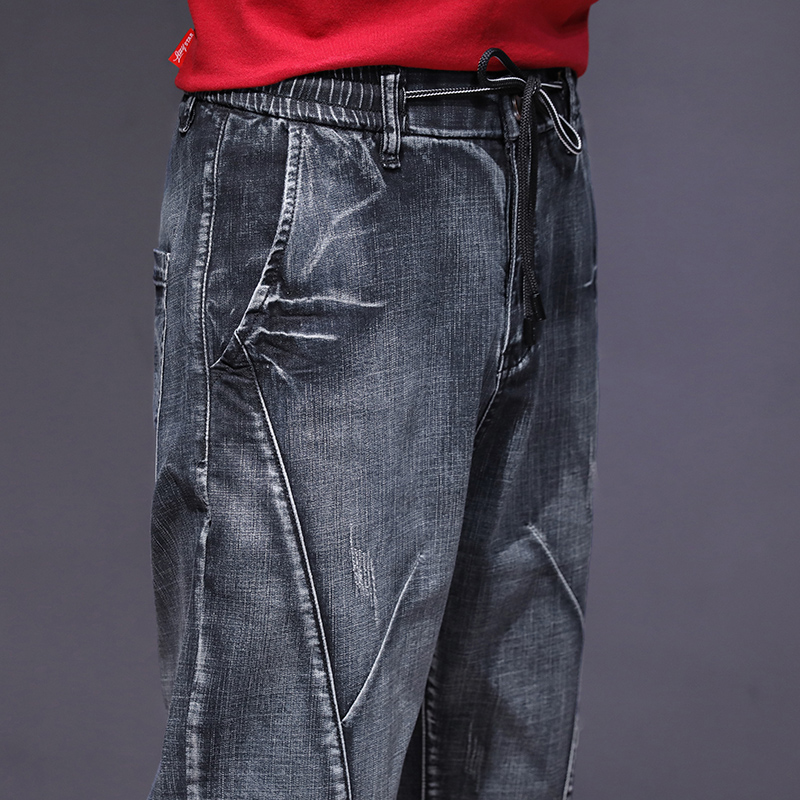 KSTUN haren jeans men motorcycle jeans streetwear drawstring elastic waist loose feet Pants outdoor leisure riding jeans joggers 18