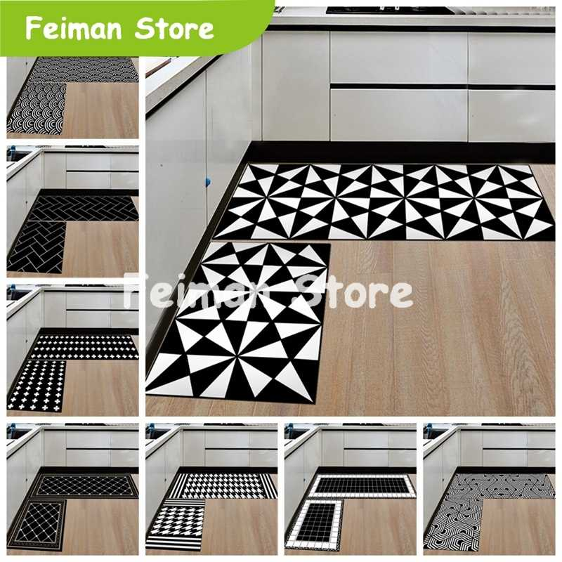 Nordic Geometric Creative Kitchen Mat Anti-Slip Bathroom Carpet Slip-Resistant Washable Entrance Door Mat Hallway Floor Area Rug
