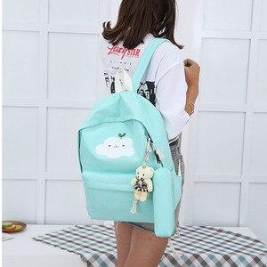 Image 3 - Yeni moda naylon sırt çantası sevimli bulut baskı okul çantaları gençler için okul için rahat çocuk sırt çantası seyahat çantaları