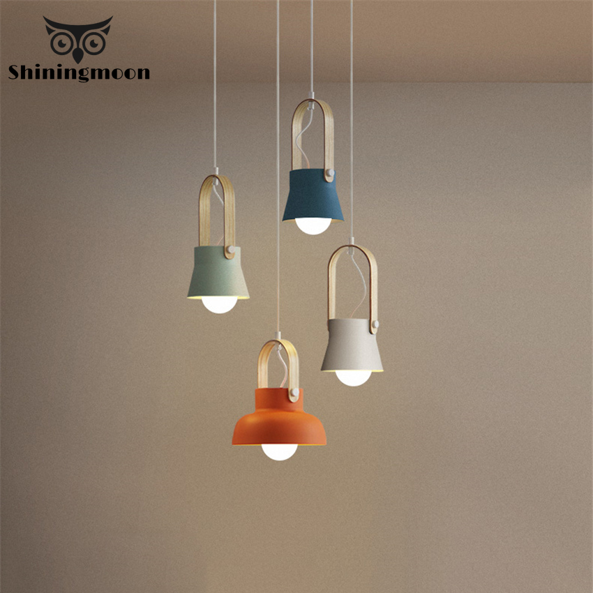 Nordic Loft LED Iron Pendant Light Modern Bedroom Simple Hanging Lamp For Dining Room Home Lighting Fixture Multicolor Iron Lamp