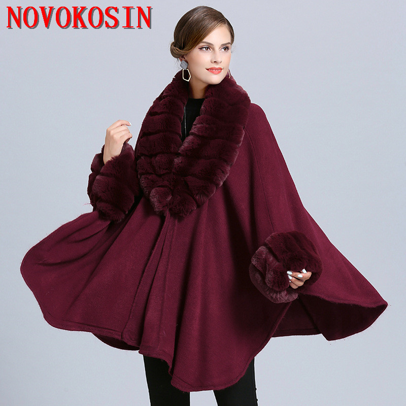 SC363 2019 Winter Cloak  Warm New Women  Cardigan Big Imitation Fox Fur Collar Cape Fashion Solid Poncho With Long Fur Sleeves
