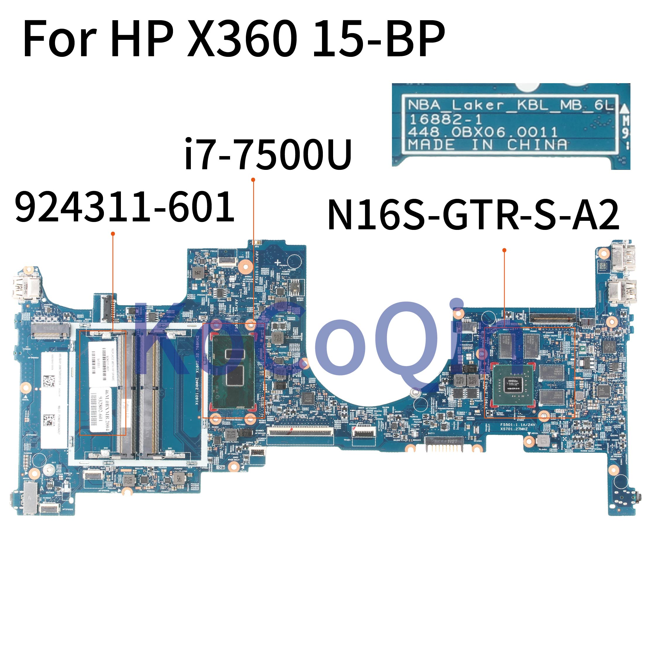 KoCoQin Laptop motherboard For HP TPN-W127 ENVY X360 15-BP SR341 i7-7500U <font><b>940MX</b></font> 4GB Mainboard 16882-1 448.0BX06.0011 924311-601 image