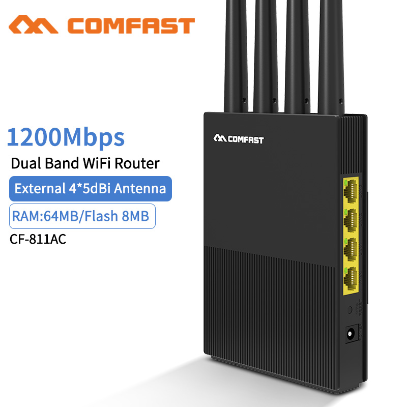 Comfast 1200Mbps Dual Band Wireless WiFi Router 2.4G+5Ghz RJ45 Wan/Lan Smart Wi-Fi Access Point Router 4*5dBi Antenna Router