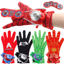 5 Style PVC Super Hero Spider man Launchers Gloves for Kids