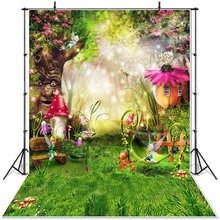 NeoBack אביב נוף רקע הפלאות כר דשא אגדה יער ילדי יילוד פטריות גמדי פרחים שיחת וידאו באנר