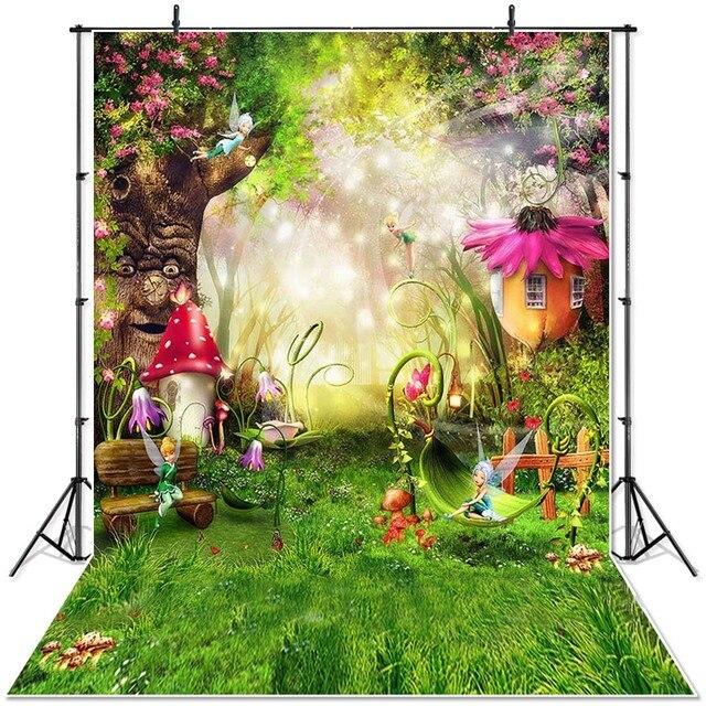 Neoback primavera cenário cenário país das maravilhas pastagem conto de fadas floresta crianças recém nascidos cogumelos elfos flores photocall banner