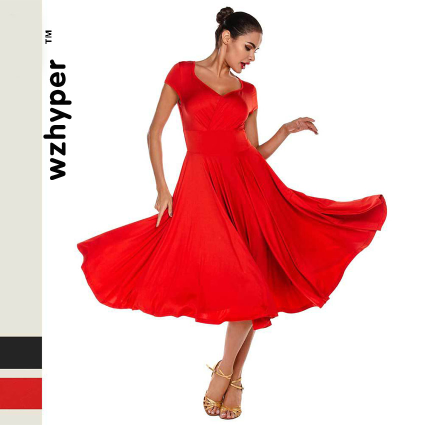 Latin Dance Dress Girls Short Sleeve Pleated Ballroom Dancing Latin Costumes Women Red Black Samba Skirt Waltz Morden Dance Wear