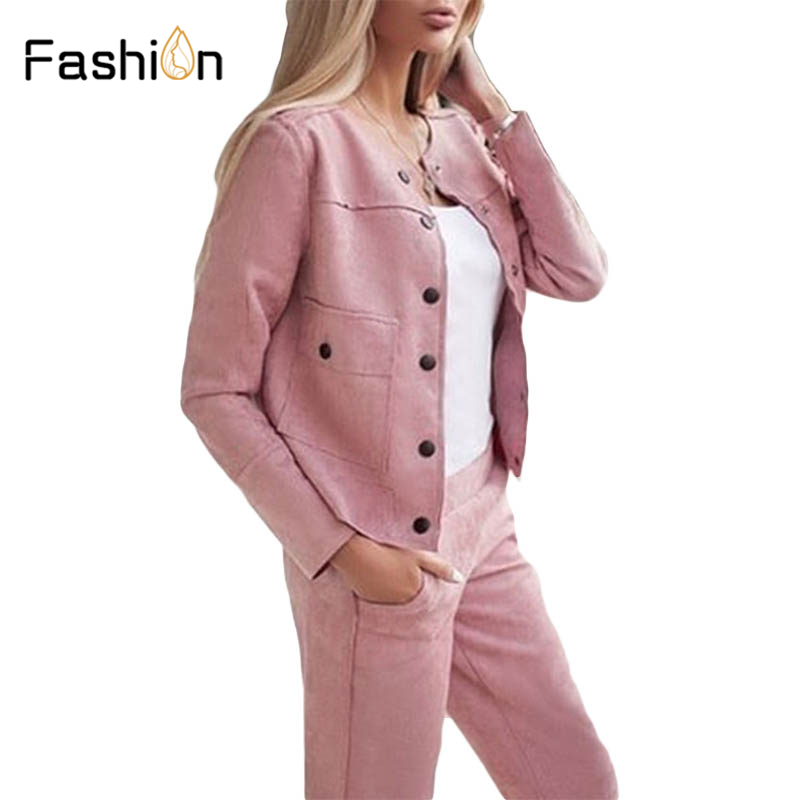 2019 Women's Sets Jacket And Straight Pants Two Piece Set Suits Femme  Women Tracksuit  Winter Outfits Office Lady Pant Suits