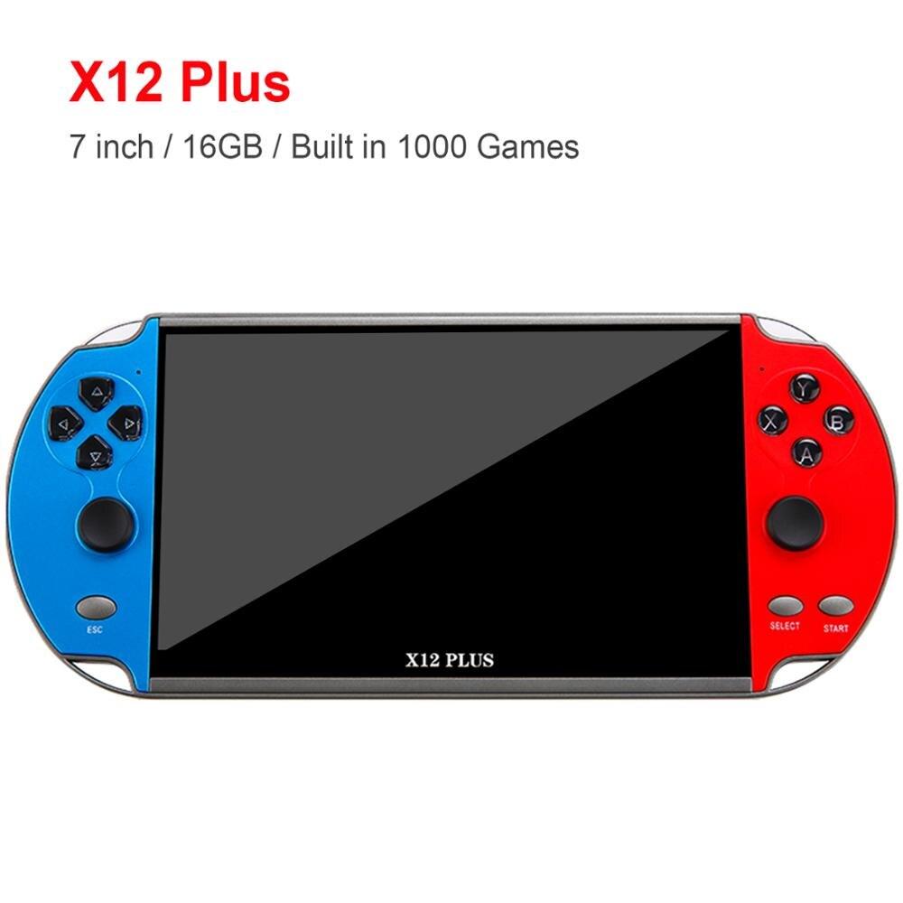 X12 mais 7 polegada console do jogo de vídeo construído em 1000 jogos 16gb handheld duplo joystick game controlador spupport av saída tf cartão