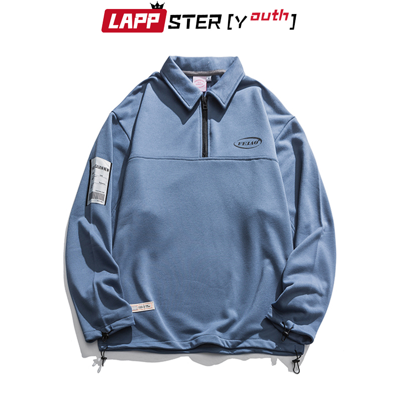 LAPPSTER-Youth Zipper Up Hoodies 2020 Korean Fashions Pullover Man Harajuku Vintage Colors Sweatshirts Casual Streetwear Clothes